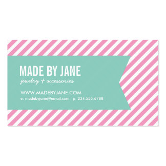 Pink and Aqua Modern Stripes and Ribbon Business Card