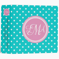 Pink and Aqua Monogrammed Polka Dot Personalized 3 Ring Binder