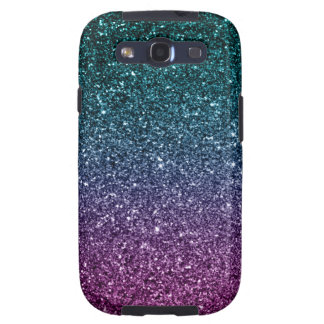 Pink and Aqua Ombre Faux Glitter Galaxy S3 Case