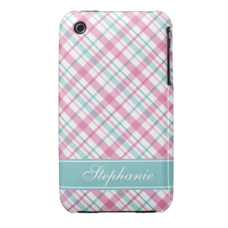 Pink and Aqua Plaid Pattern iPhone 3 Covers
