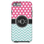Pink and Aqua Polka Dot Chevron Monogram Tough iPhone 6 Case