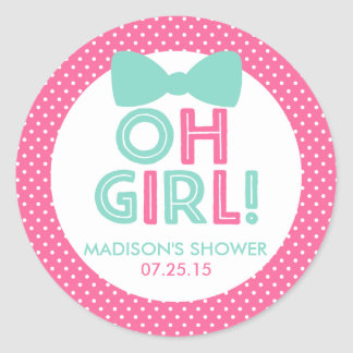 Pink and Aqua Polka Dot Oh Girl Baby Shower Classic Round Sticker