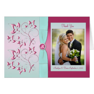 Pink and Aqua Thank You Card with Photo Greeting Cards