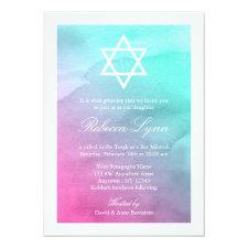 Pink and Aqua Watercolor Bat Mitzvah Invitations