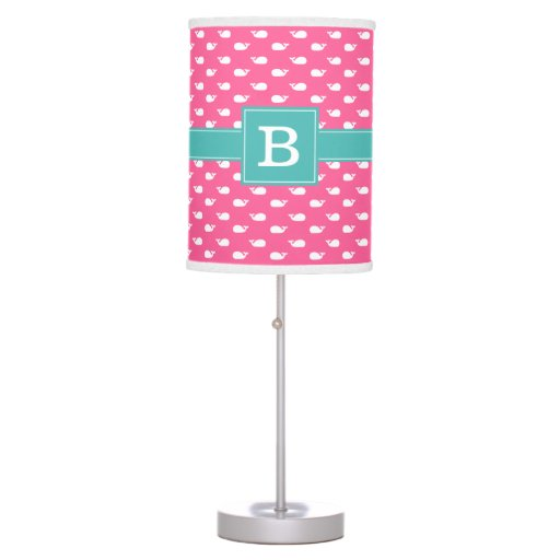 Pink and Aqua Whimsical Whales Pattern Monogram Table Lamp