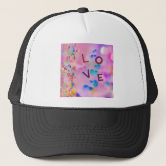 Pink and baby blue celebrate our love trucker hat