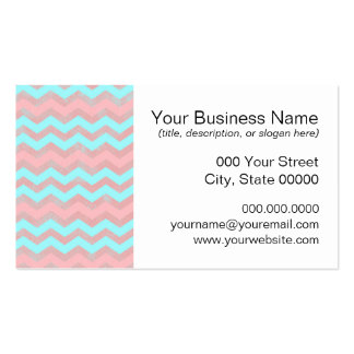 Pink and Baby Blue Chevron Pattern Business Card Templates