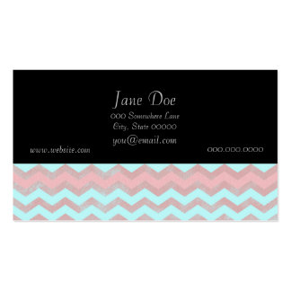Pink and Baby Blue Chevron Pattern Business Card