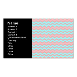 Pink and Baby Blue Chevron Pattern Business Card Template