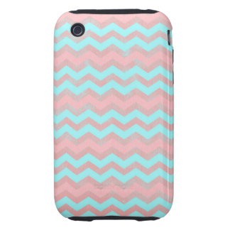 Pink and Baby Blue Chevron Pattern iPhone 3 Tough Covers