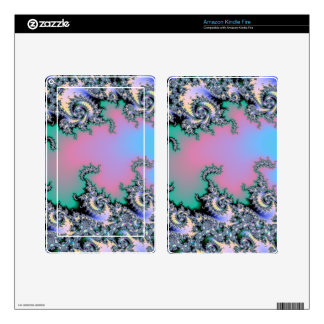 Pink and Baby Blue Pastel Fractal Decal For Kindle Fire