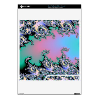 Pink and Baby Blue Pastel Fractal Decals For PS3 Slim