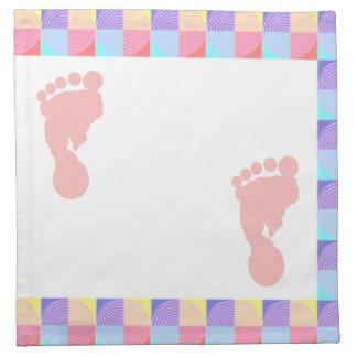 Pink and Baby Footprint Napkins