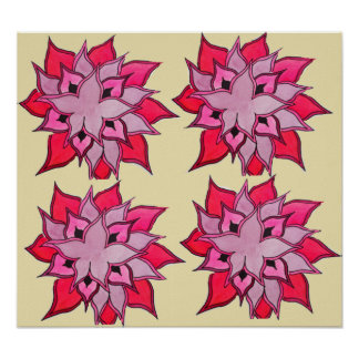 Pink and beige flower art floral pattern poster