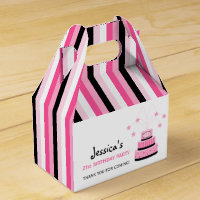 Pink and Black 21st Birthday Cake Party Favor Box