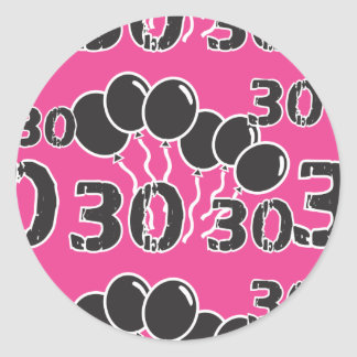 PINK and BLACK 30th Birthday - 30 yrs old Bday Round Stickers