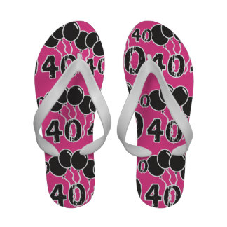 PINK and BLACK 40th Birthday - 40 yrs old Bday Flip-Flops