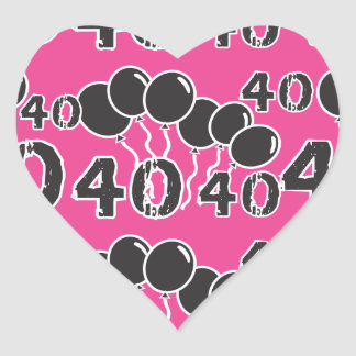 PINK and BLACK 40th Birthday - 40 yrs old Bday Heart Sticker