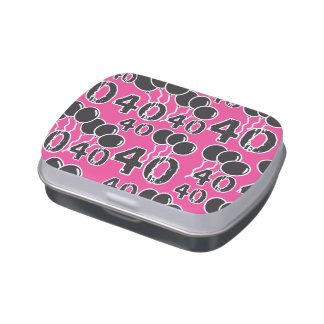 PINK and BLACK 40th Birthday - 40 yrs old Bday Jelly Belly Tin