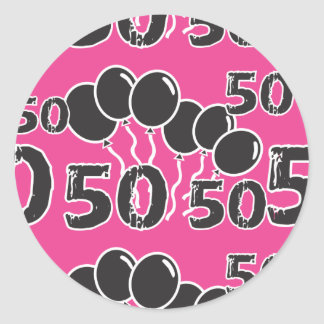 PINK and BLACK 50th Birthday - 50 yrs old Bday Round Stickers
