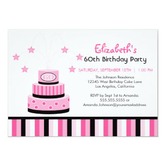 Pink and Black 60th Birthday Cake Party Invitation