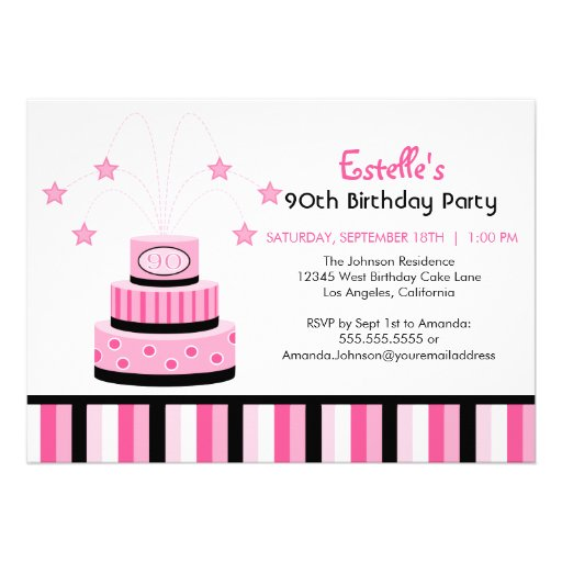 Pink and Black 90th Birthday Cake Party Invitation