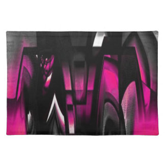 Pink and Black Abstract Cloth Place Mat