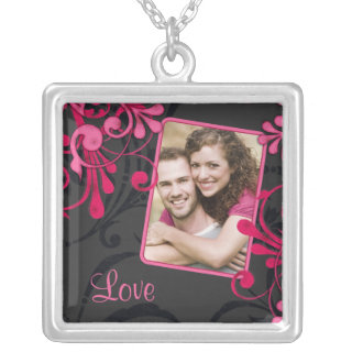 Pink and Black Abstract Floral Love Photo Necklace