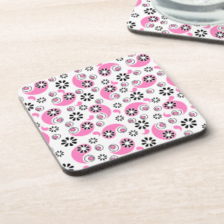 Pink and Black Abstract Flowers Coaster