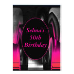 Pink and Black Abstract Invitations