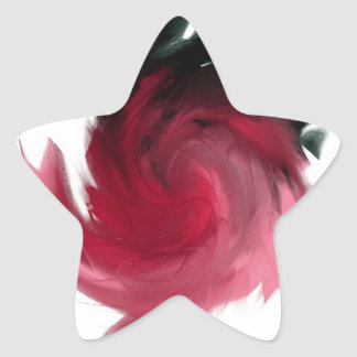Pink and Black Abstract Painting Star Sticker