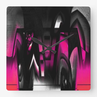 Pink and Black Abstract Square Wall Clock