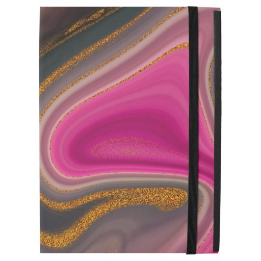 """Pink and Black Abstract with Gold Swirls  iPad Pro 12.9"""" Case"""