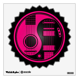 Pink and Black Acoustic Electric Guitars Yin Yang Wall Sticker