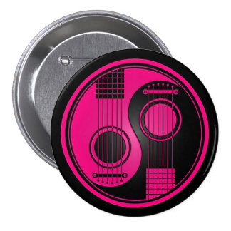 Pink and Black Acoustic Guitars Yin Yang Pinback Button