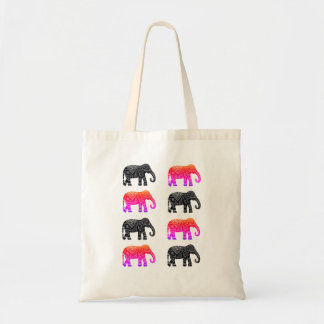 Pink and Black African Elephant Tote