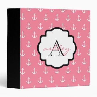 Pink and Black Anchor Monogram Binder
