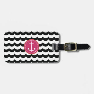 Pink and Black Anchor with Waves Pattern Luggage Tags