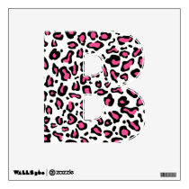 Pink and Black Animal print Initial Wall Decals