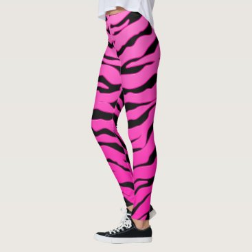 Beach Themed Pink And Black Animal Tigers Stripes Leggings
