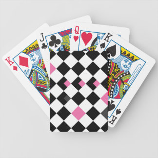 Pink and Black Argyle Bicycle Playing Cards