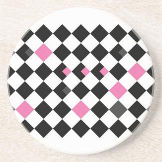 Pink and Black Argyle Coaster
