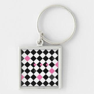 Pink and Black Argyle Keychain