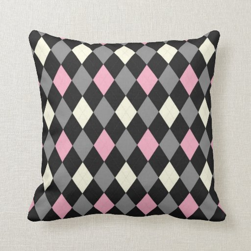Pink and Black Argyle Pillow