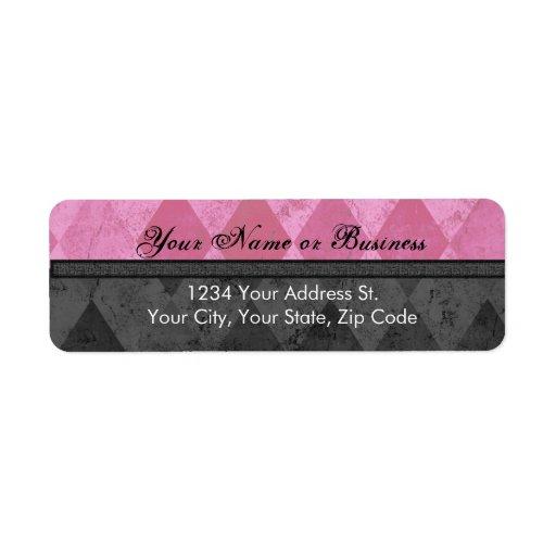 Pink and Black Argyle Return Address Label