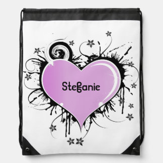 Pink and Black Artistic Heart Backpack