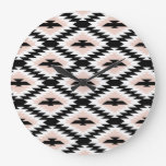 Pink and Black Aztec Large Clock