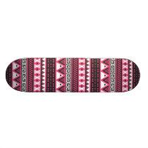 Pink and Black Aztec Tribal Pattern Design Skateboard Deck