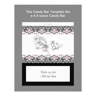 Pink and Black Baby Shower Candy Bar Wrapper Flyer