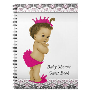 Pink and Black Baby Shower Guest Book Notebook